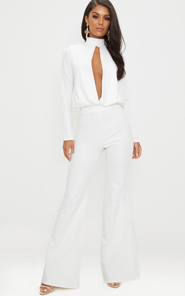 White Keyhole Cut Out Jumpsuit Prettylittlething Ie