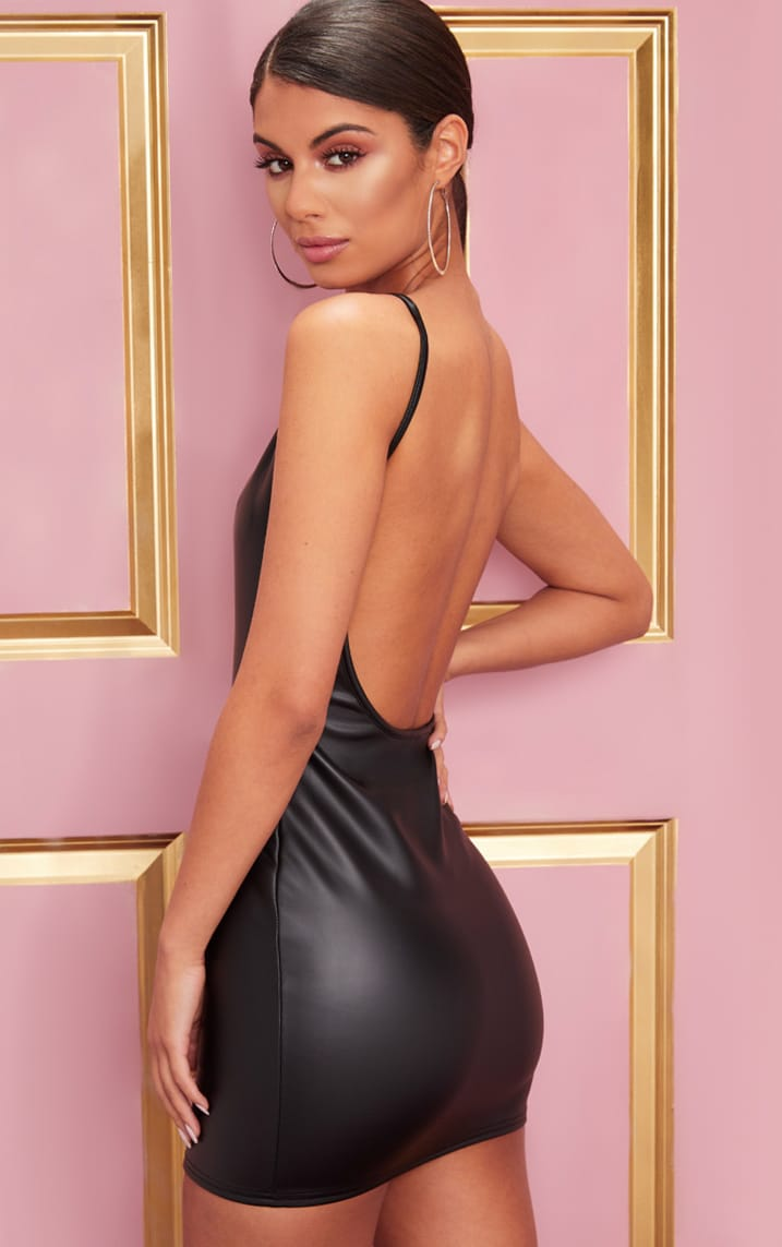 Black PU Strappy Backless Bodycon Dress 1