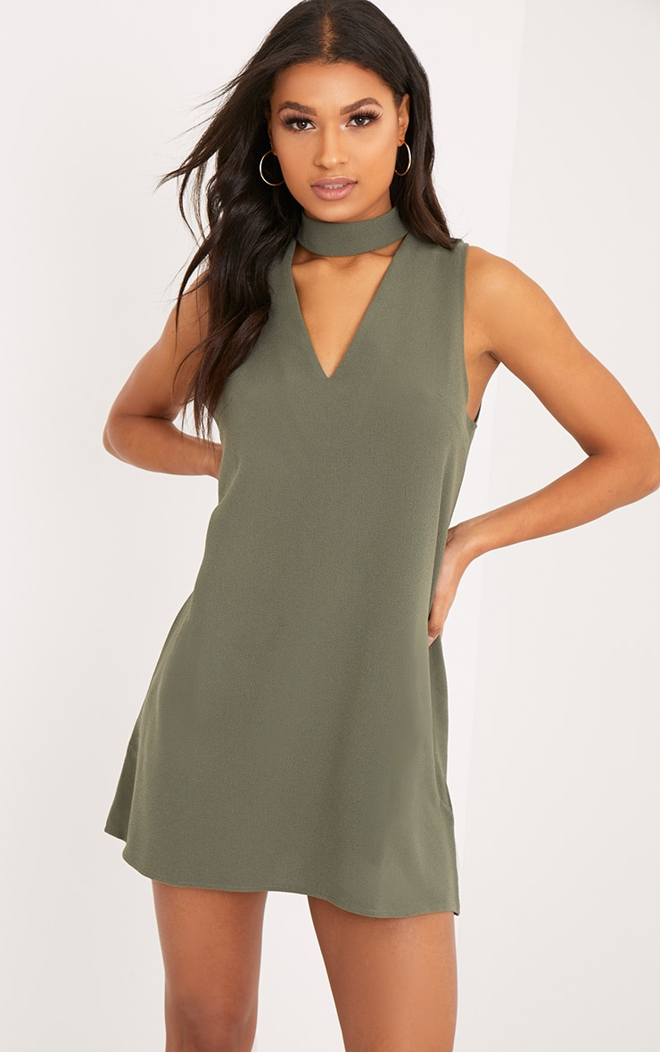 Cinder Khaki Choker Detail Loose Fit Dress 1