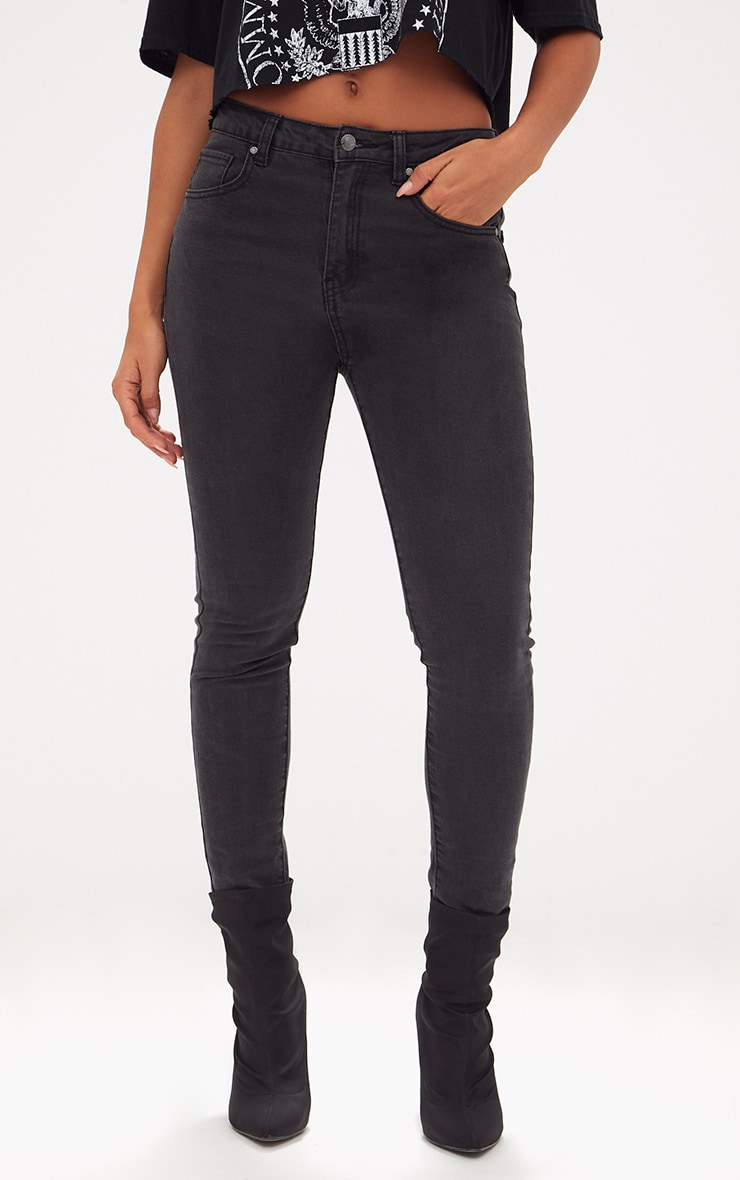 Charcoal High Waisted Skinny Jean 2