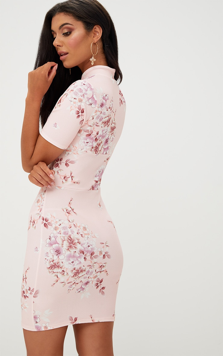 Pink Floral Lace Up Bodycon Dress 2