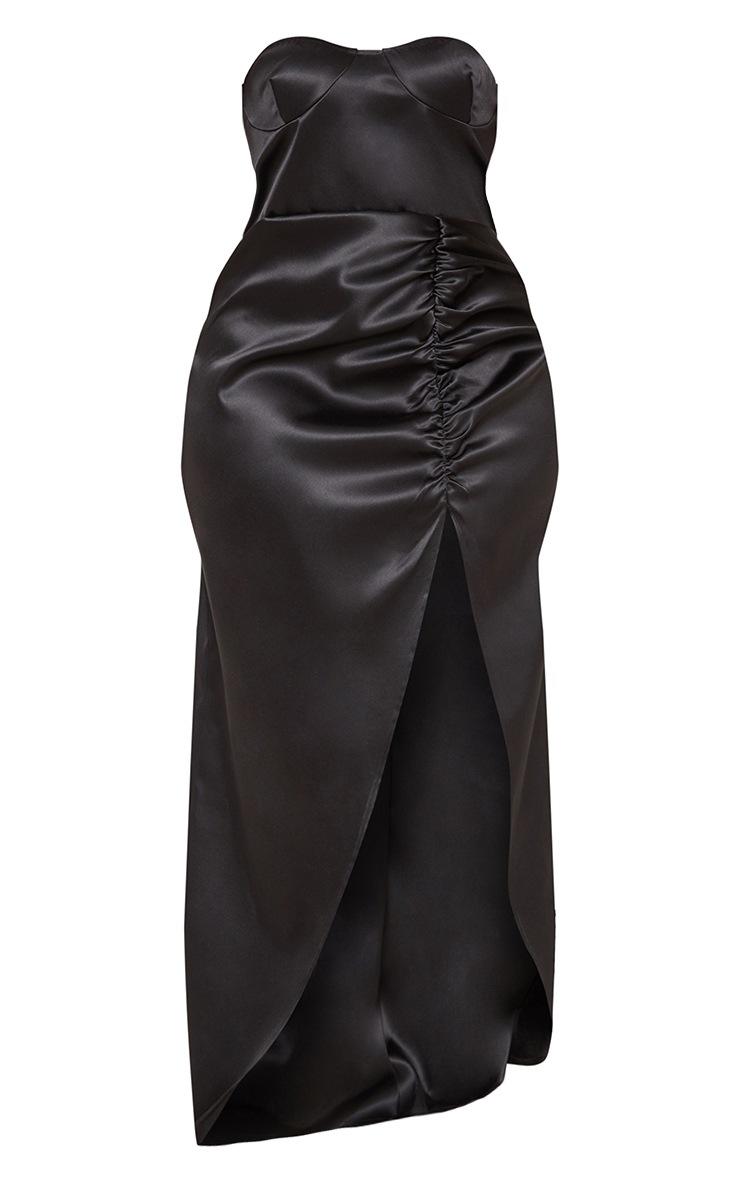 Black Bonded Satin Bandeau Ruched Detail Maxi Dress 4