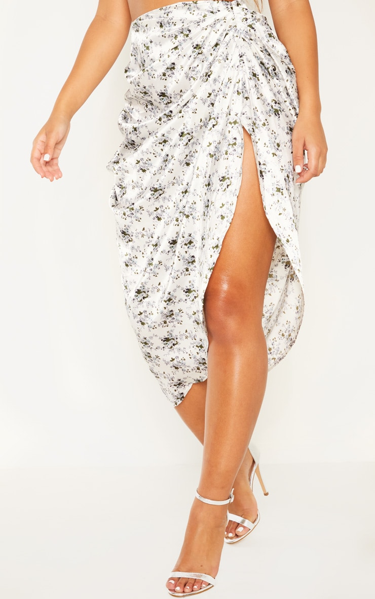 White Ditsy Floral Print Ruched Side Midi Skirt 2