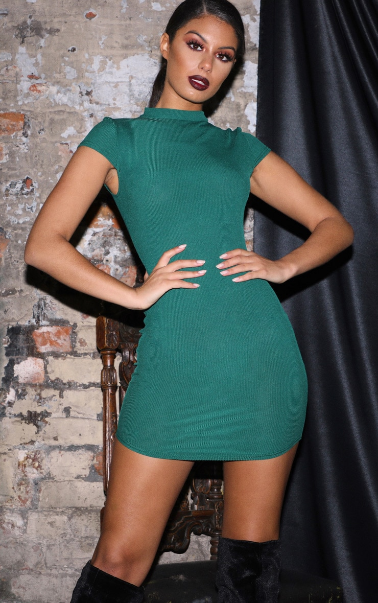 Emerald Green High Neck Ribbed Bodycon Dress 1