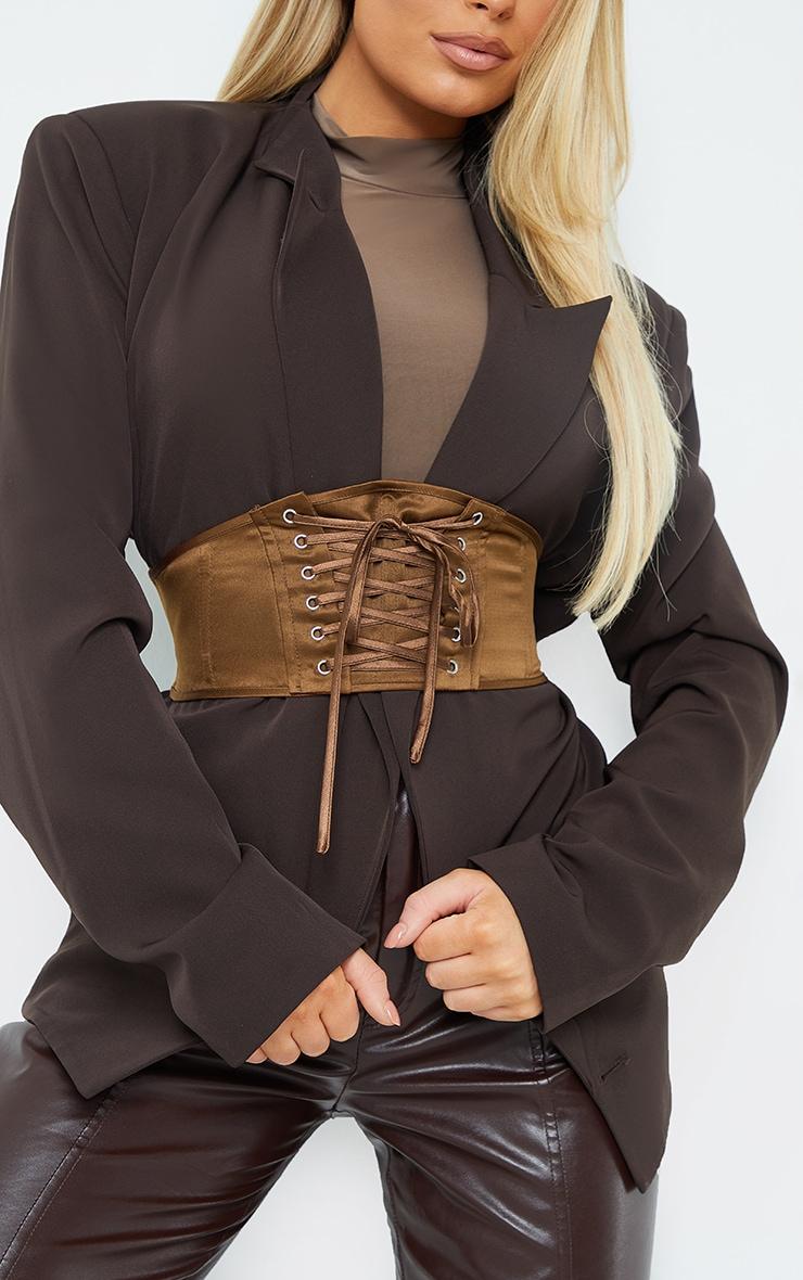 Chocolate Satin Lace Up Corset Belt