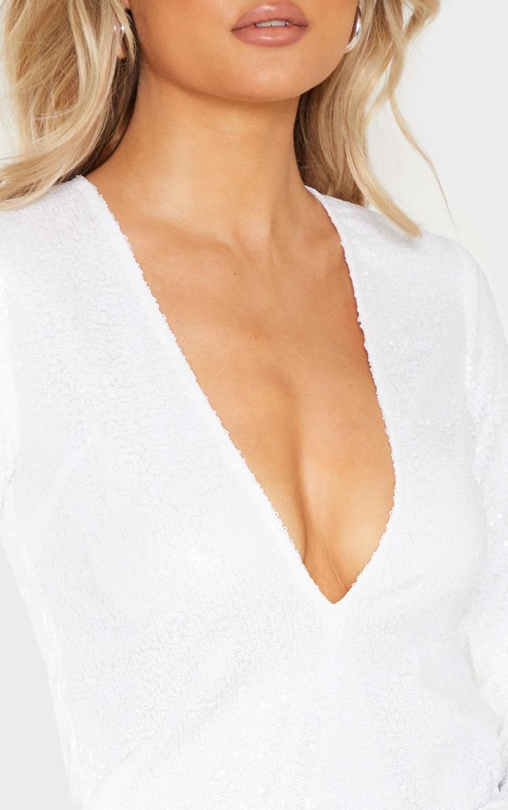 Tall White Deep V Long Sleeved Sequin Dress 5
