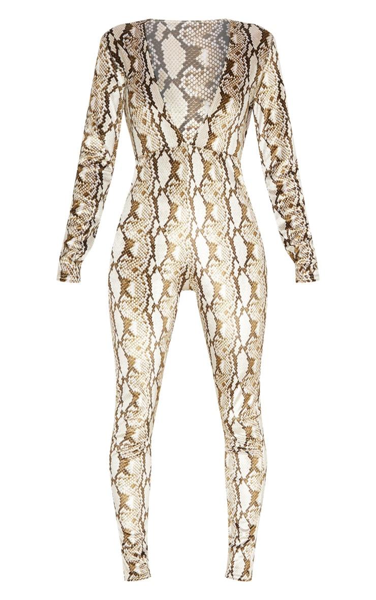 Multi Snake Print Velvet Jumpsuit  3