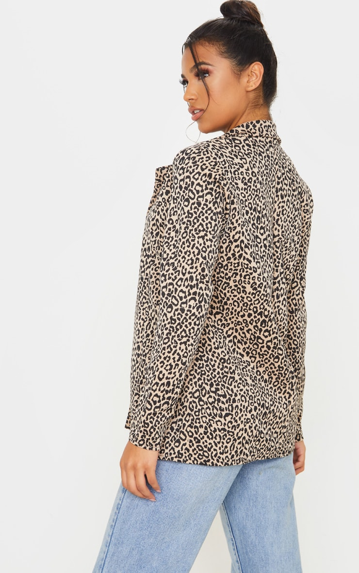 Brown Leopard Boyfriend Blazer 2