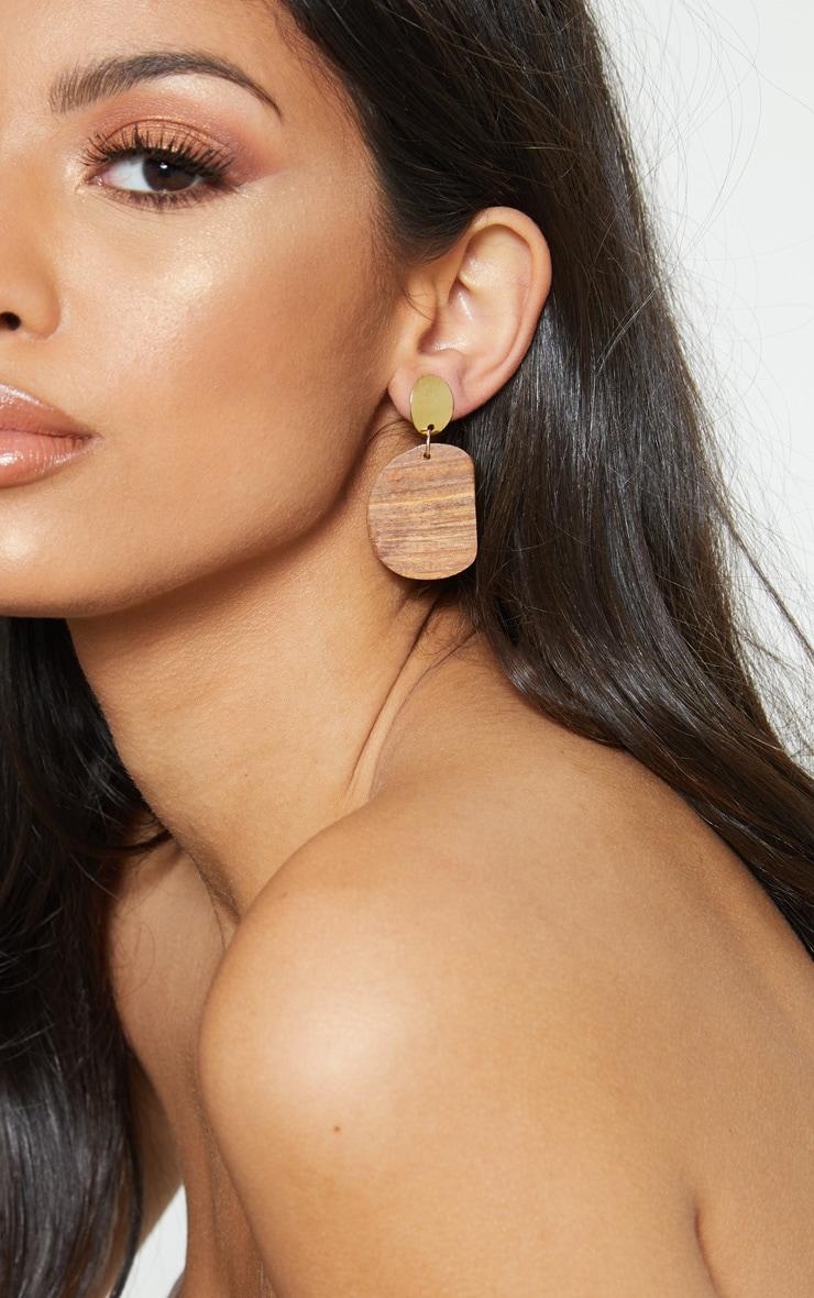 Boucles d'oreilles à pendants ovales en bois marron 1
