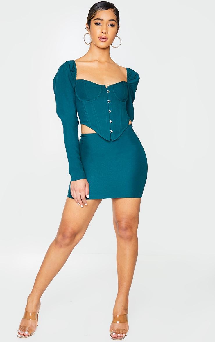 Bottle Green Woven Mini Skirt 1