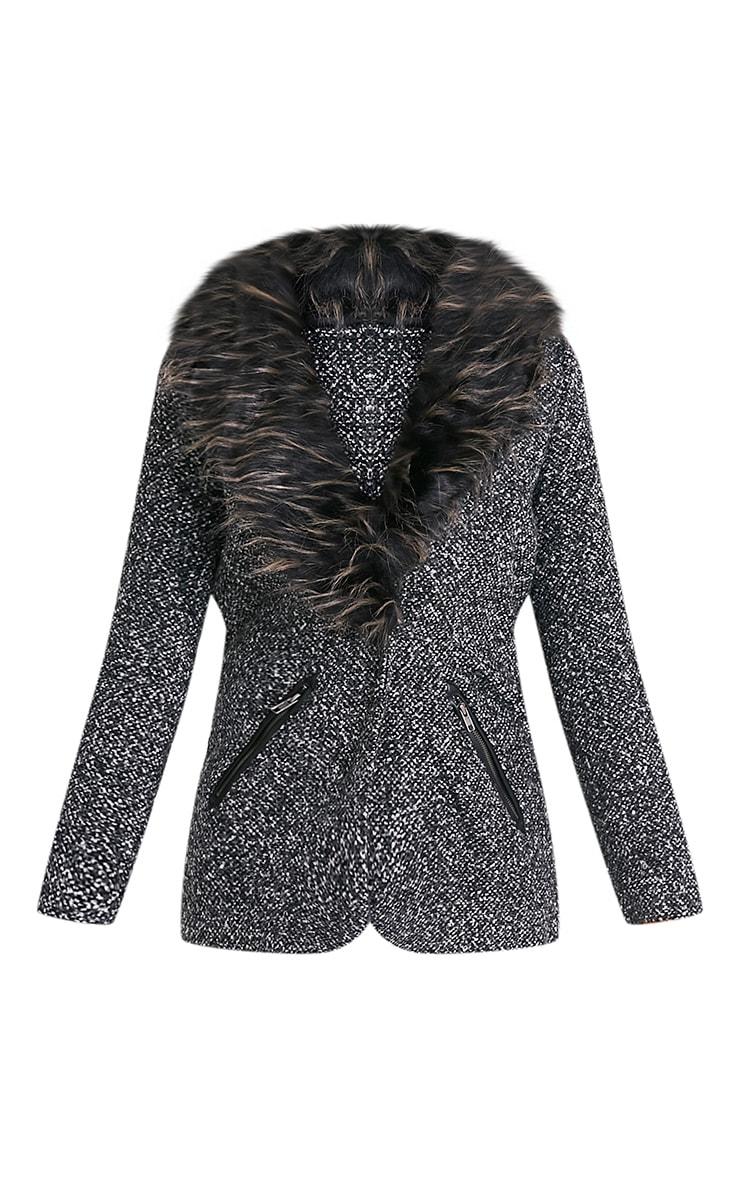 Jenifa manteau boucle gris avec col en fausse fourrure 3