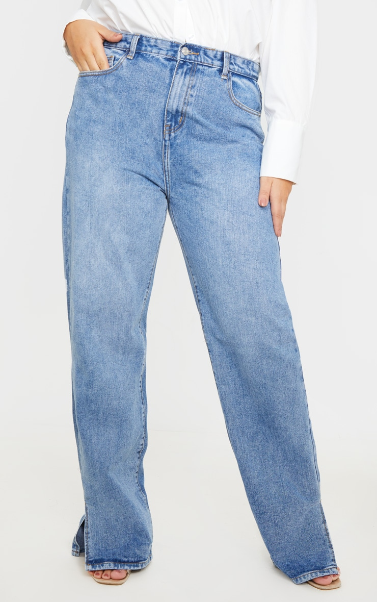 Plus Mid Wash Split Hem Jean  2