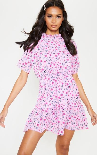 d1dd3efa672f38 Pink Floral Print High Neck Skater Dress