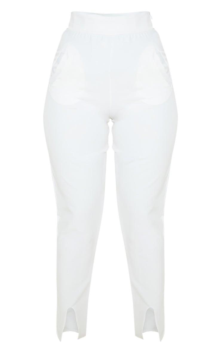 Pantalon skinny en maille tissée blanche à poches 3