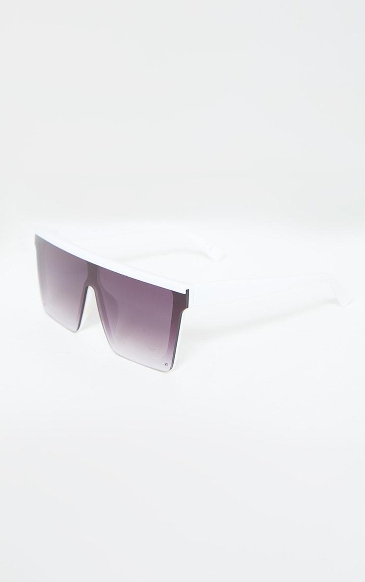 White Flat Bar Square Frame Sunglasses 3