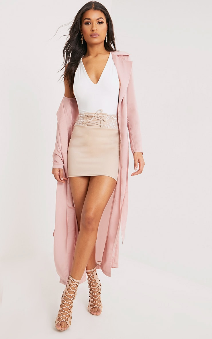 Briley Nude Satin Waterfall Duster Jacket 4