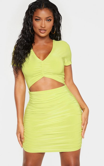 6dfb5a2f4c Shape Dark Lime Ruched Front Cut Out Bodycon Dress PrettyLittleThing Sticker