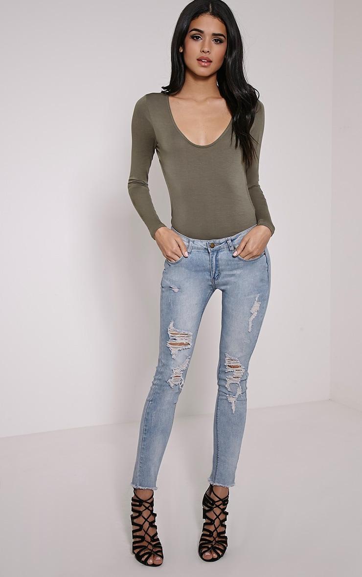 Basic Khaki Backless Jersey Bodysuit 3