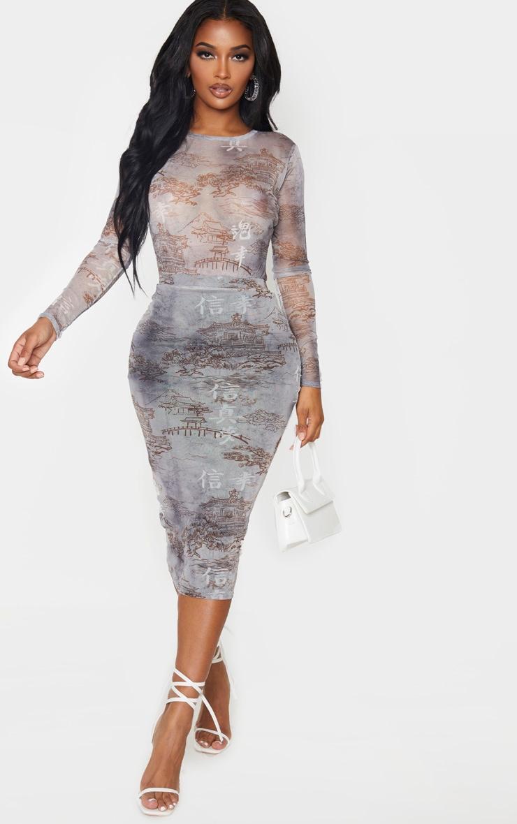Shape Grey Oriental Printed Mesh Long Sleeved Bodysuit 5