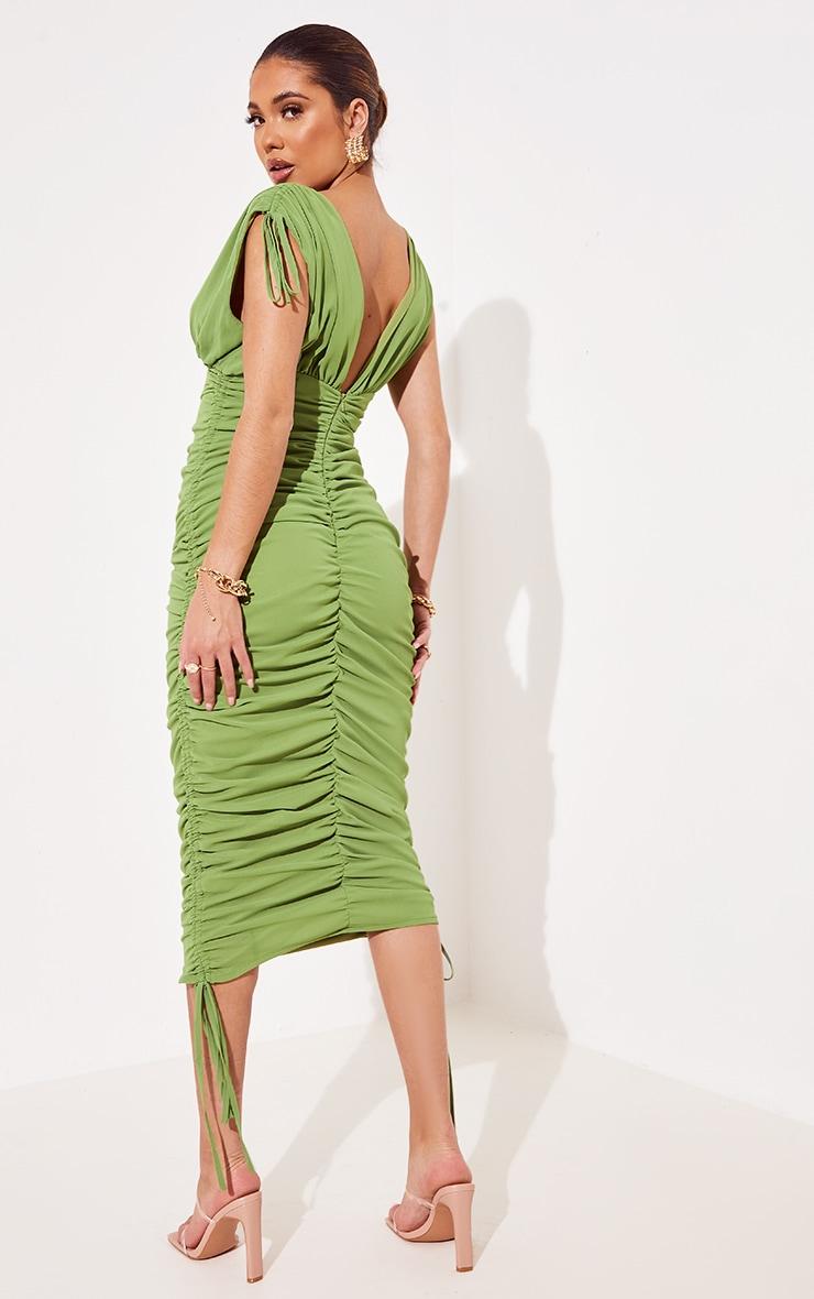 Green Chiffon Sleeveless Ruched Plunge Midi Dress 2
