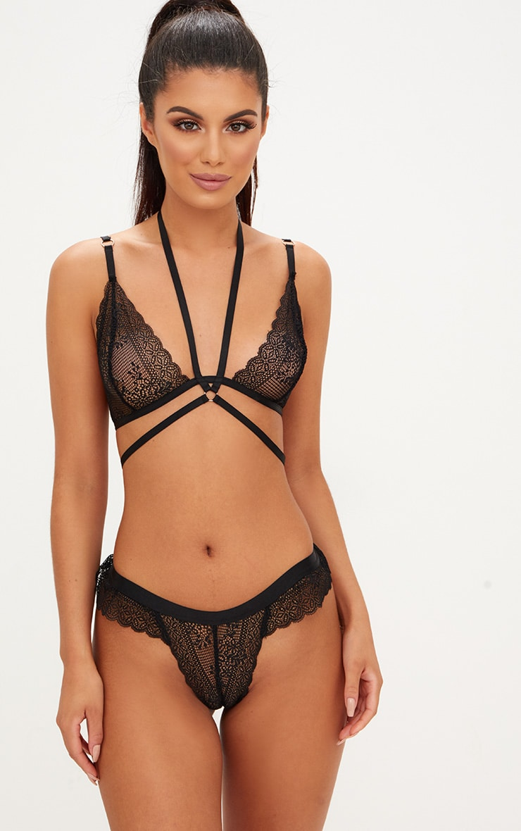 Black Choker Detail Wrap Around Triangle Lace Bralet 1