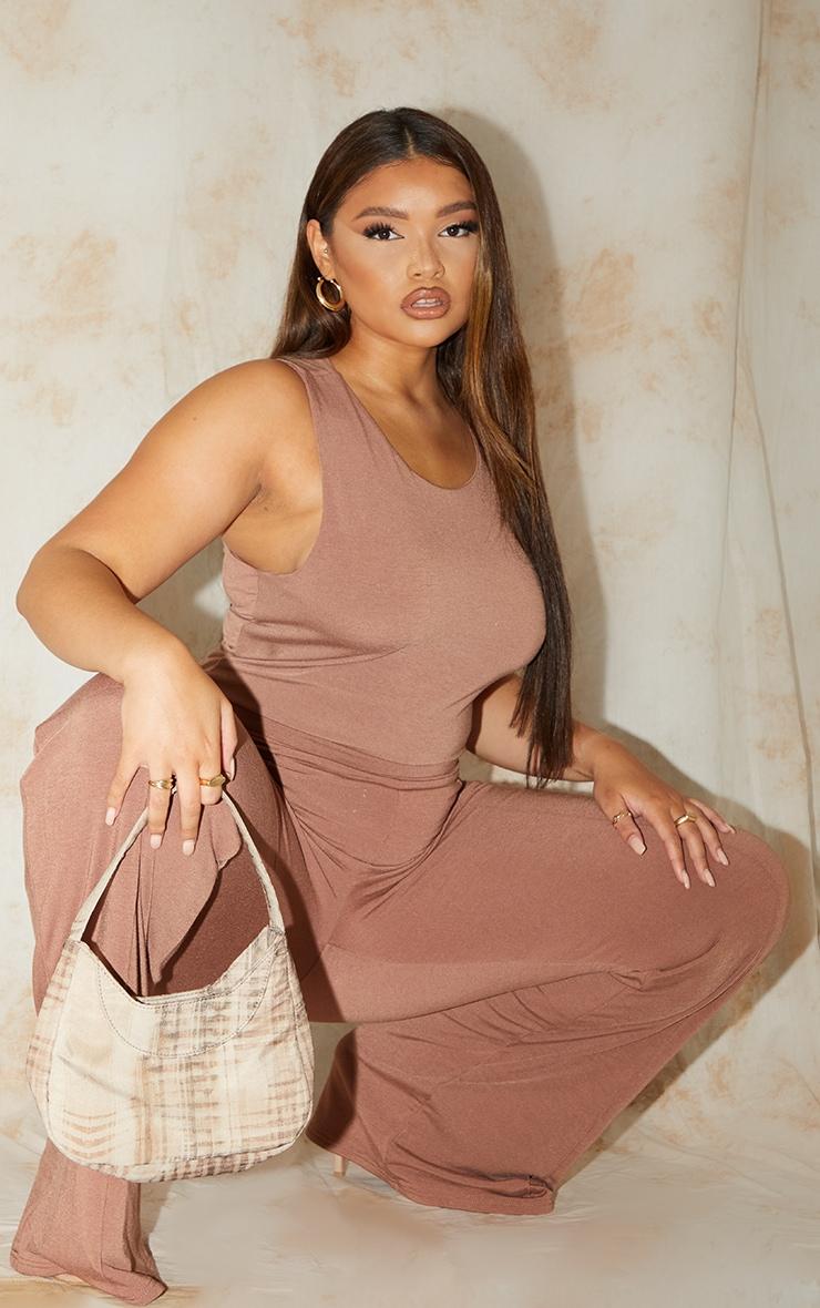 Plus Recycled Chocolate Contour Jersey Sleeveless Bodysuit 3