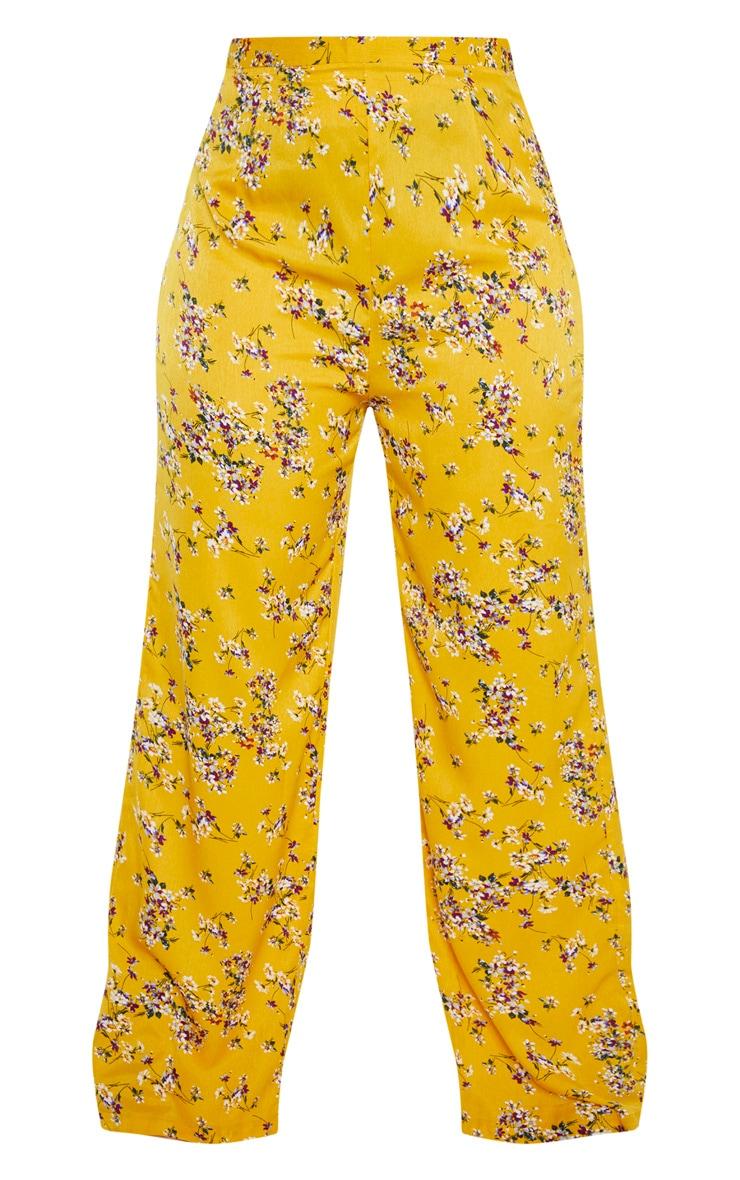 Plus Yellow Floral Wide Leg Pants  3