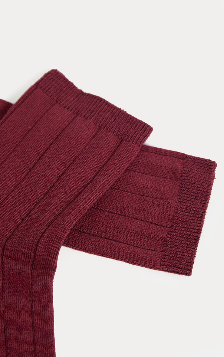 Burgundy Ribbed Ankle Socks 4