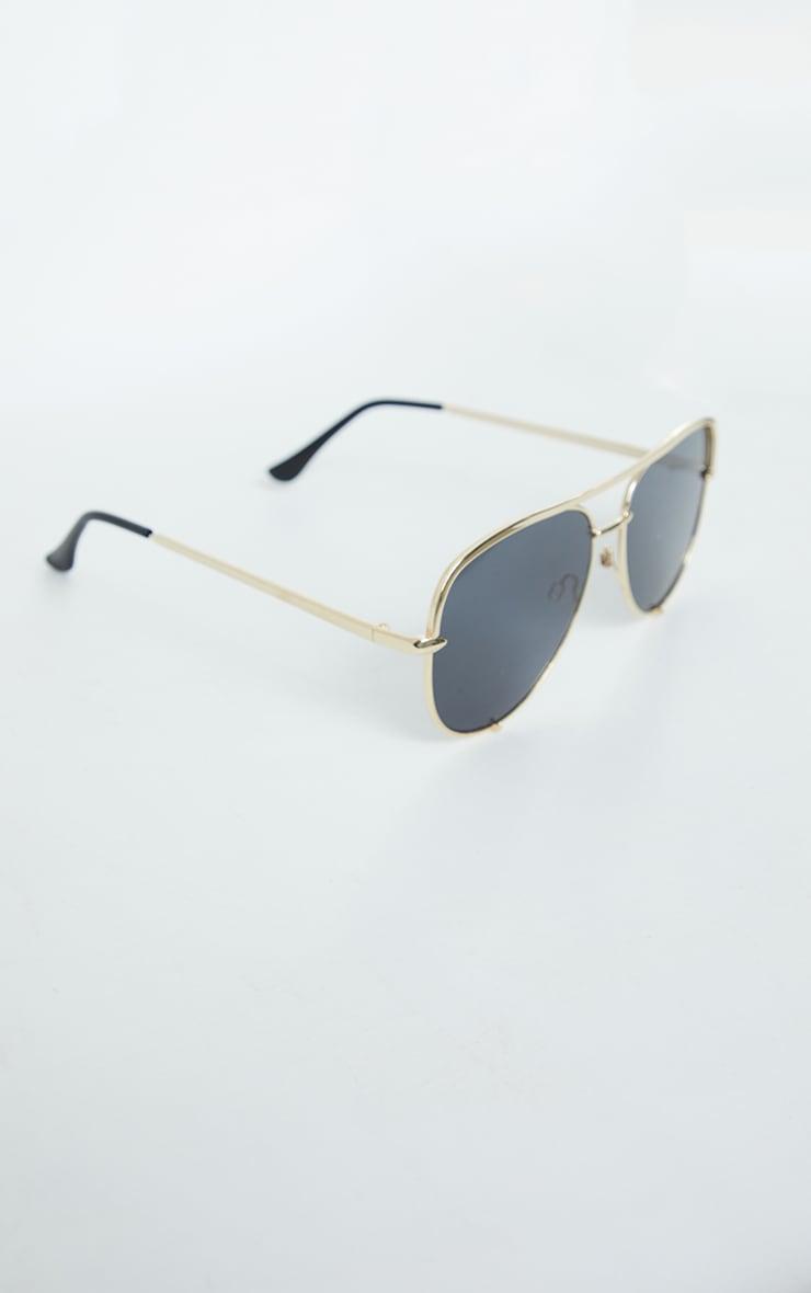 Gold On Black Oversized Aviator Sunglasses 2