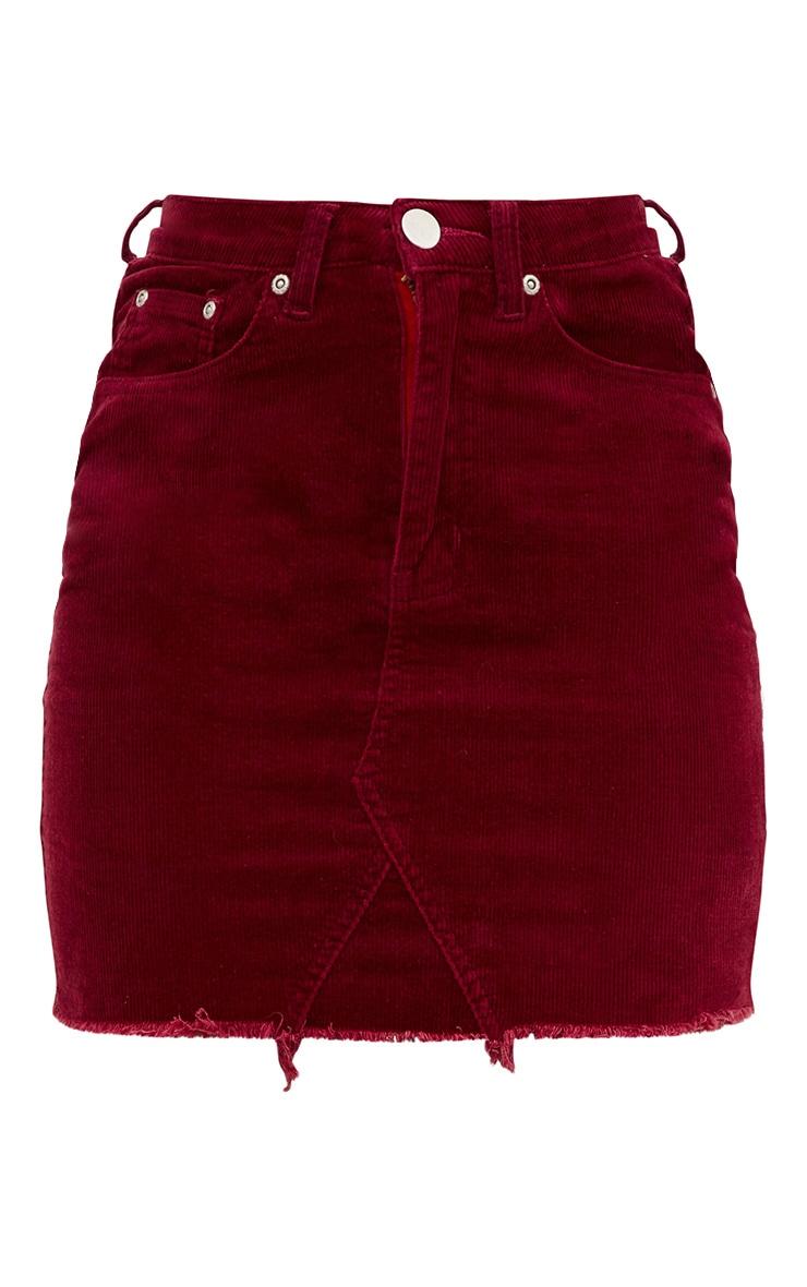 Burgundy Cord Mini Skirt 3