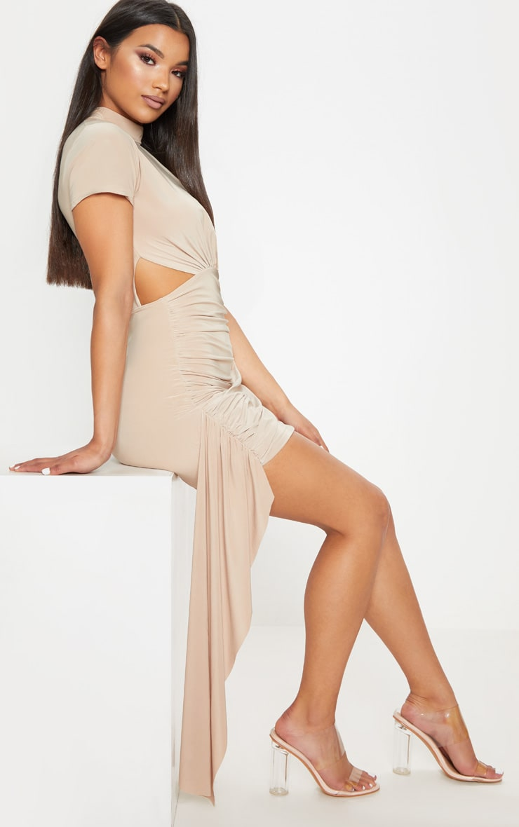 Stone Ruched Cut Out Detail Drape Bodycon Dress 4