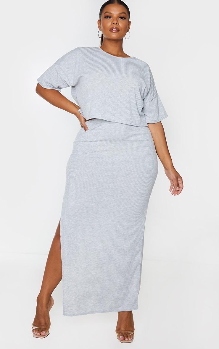 Plus Grey Soft Rib Oversized Crop T Shirt 3