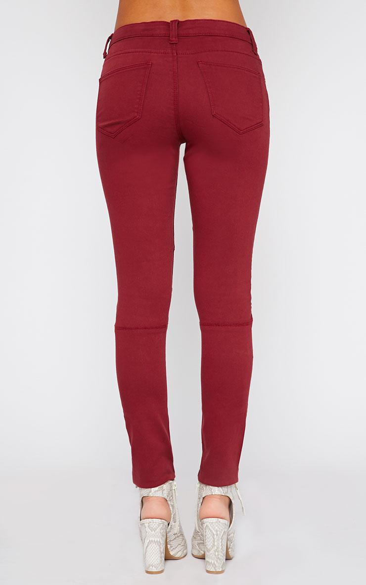 Perrine Burgundy Zip Pocket Skinny Jean  2