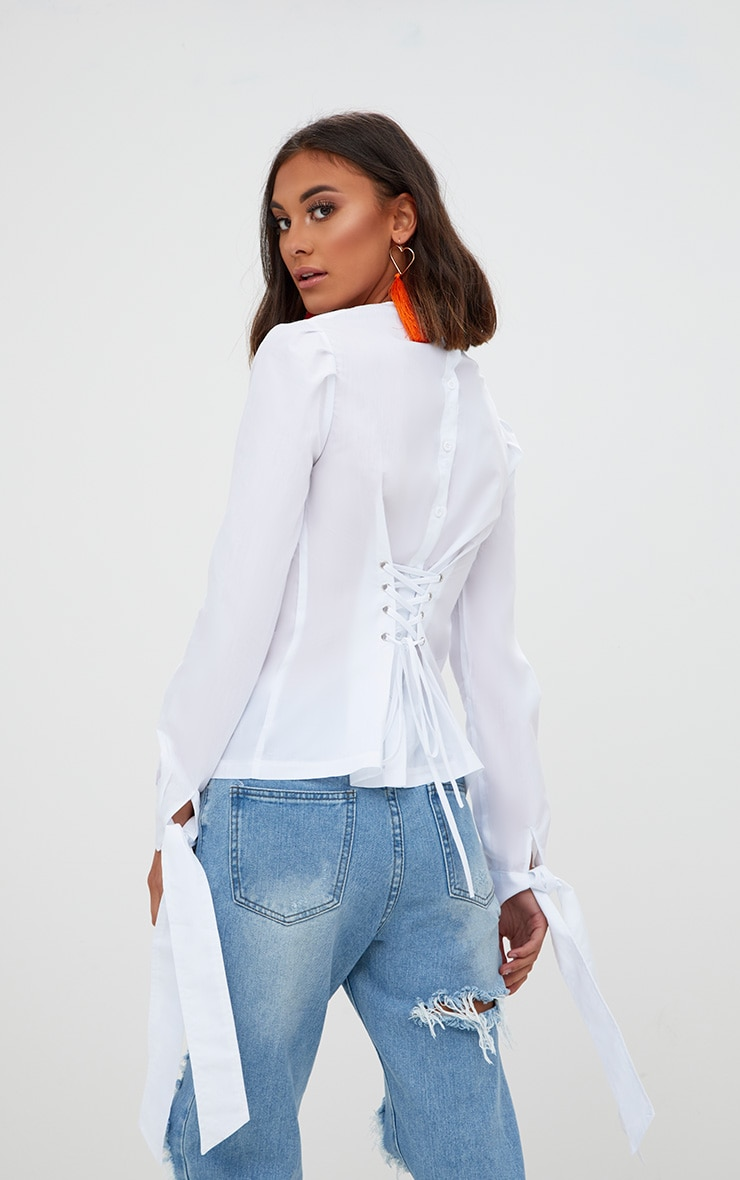 White Stripe Corset Back Tie Sleeve Shirt 1
