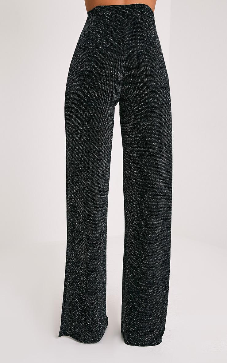 Darsee pantalon fendu sur le côté en lurex noir  5