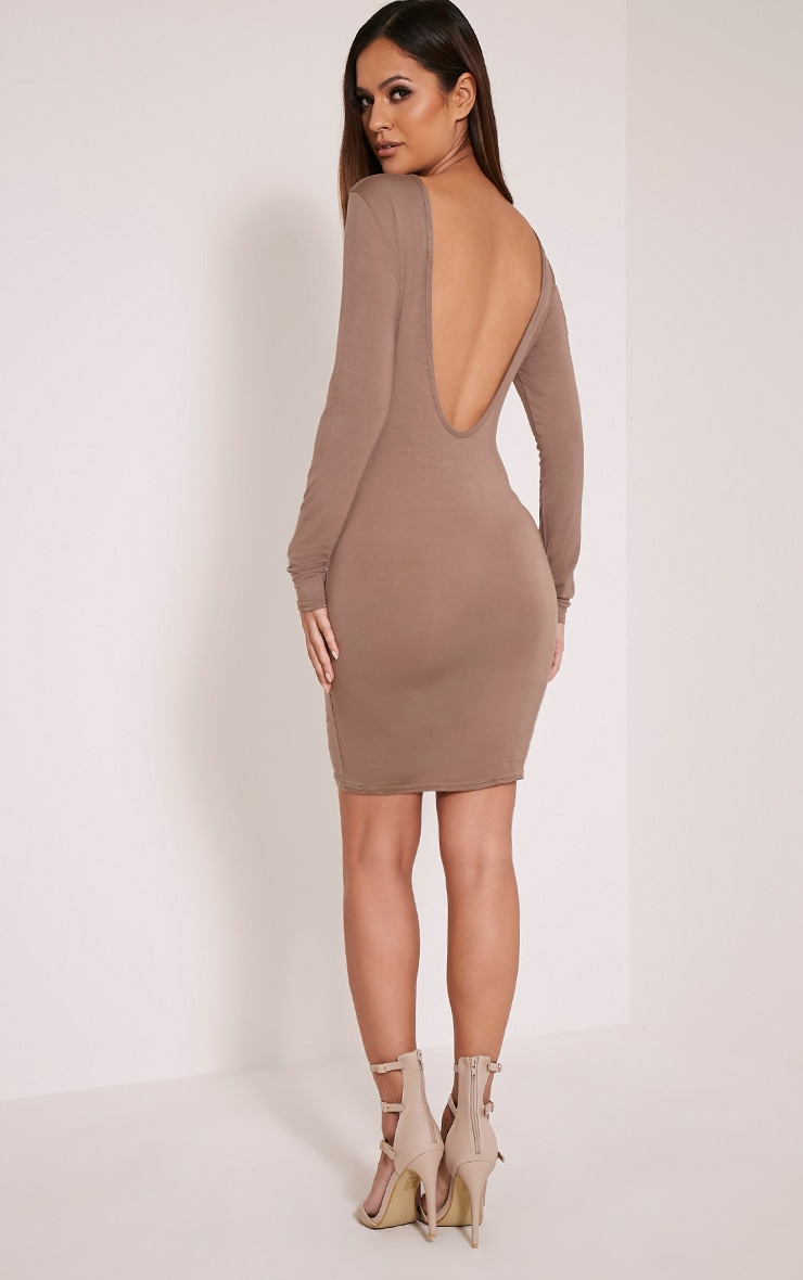 Basic Taupe Scoop Back Bodycon Dress 5