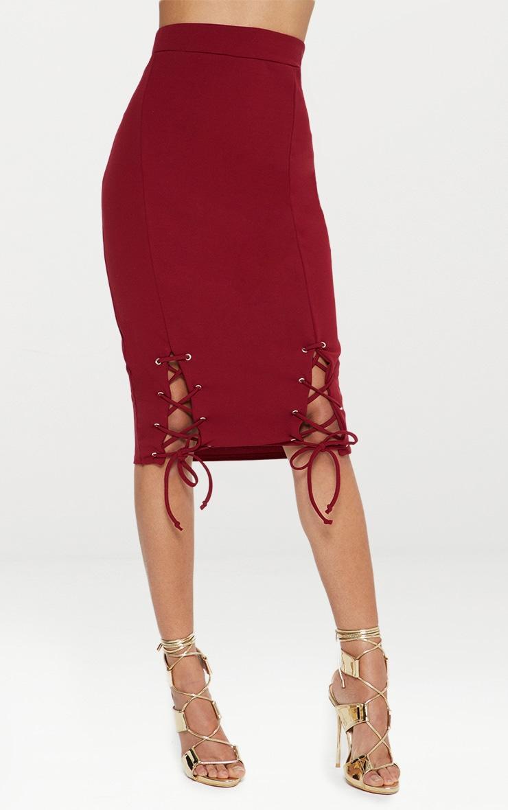 Burgundy Double Lace Up Midi Skirt 2