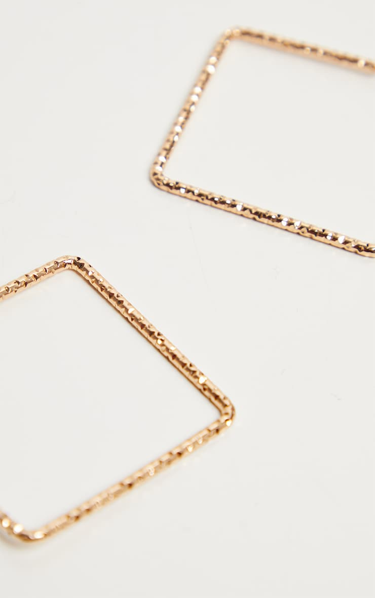 Gold Faceted Square Hoop Pack 3