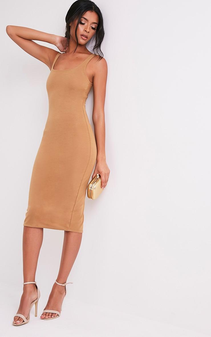 Savana Camel Square Neck Midi Dress 5