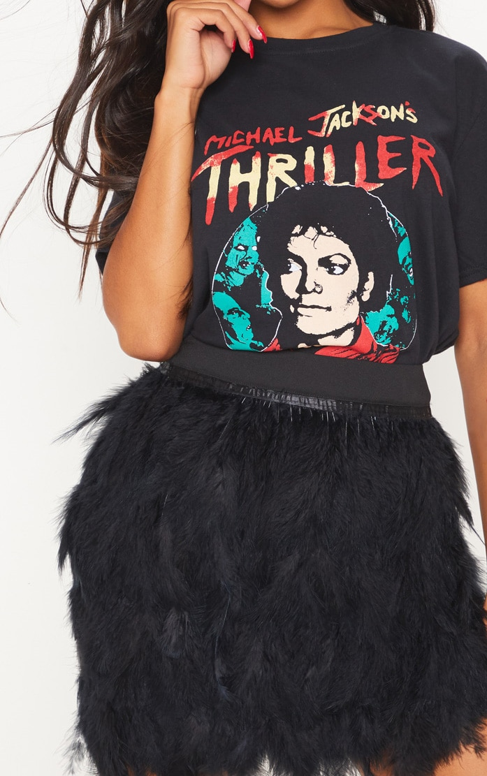 Black Printed Thriller Oversized T Shirt 5