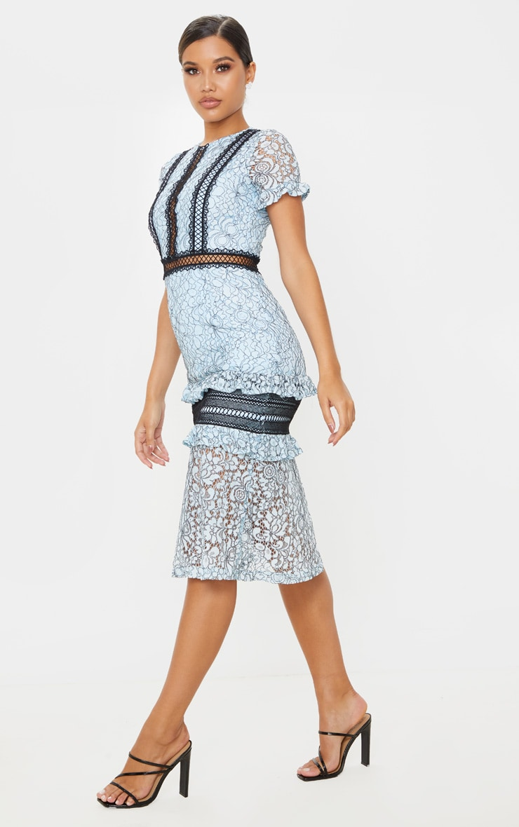 Dusty Blue Lace Ruffle Detail Midi Dress 4