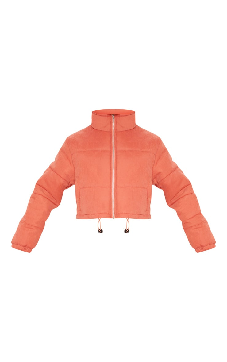 Rust Super Cropped Peach Skin Puffer 3
