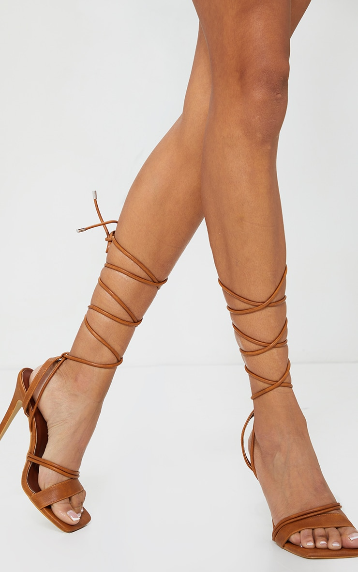 Tan PU Square Toe Lace Up High Heeled Sandals 1