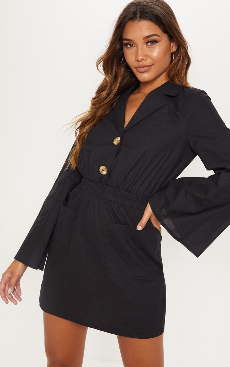Black Button Front Elastic Waist Pocket Shirt Dress 4