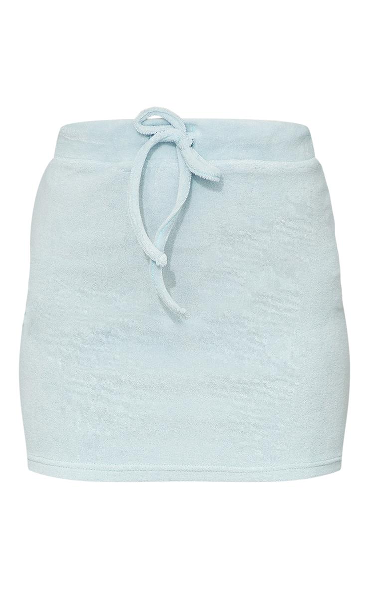 Light Blue Towelling Mini Skirt 6