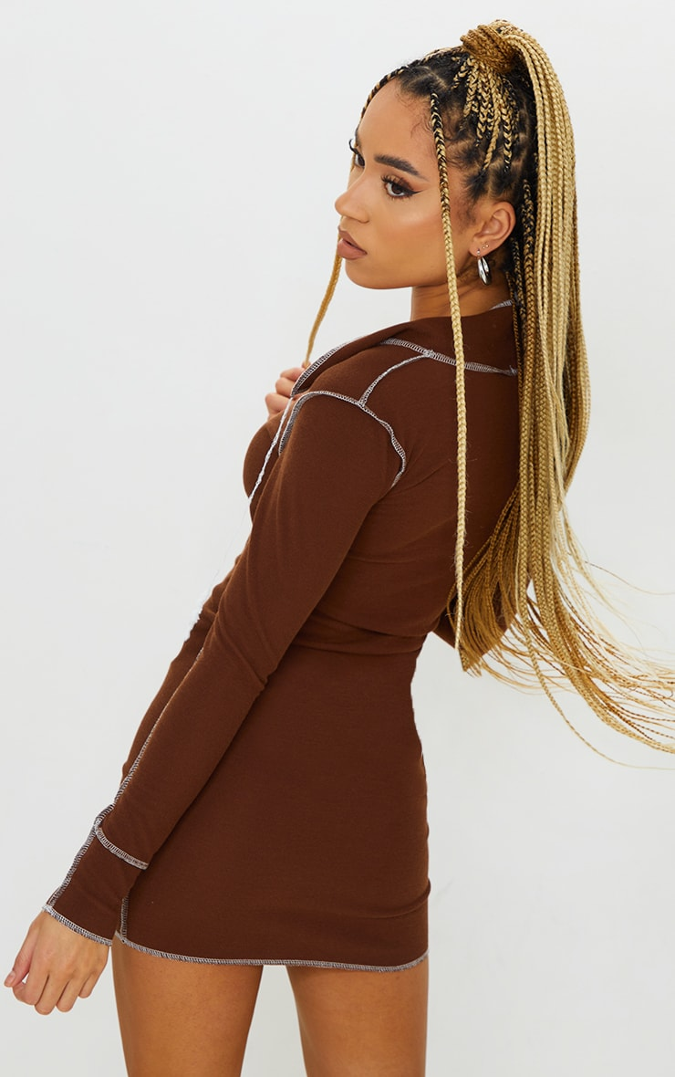 Chocolate Ribbed Contrast Stitch Plunge Collar Bodycon Dress 2
