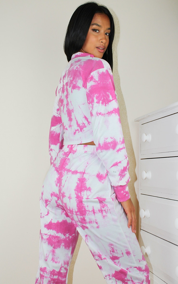 Petite Pink Tie Dye Cropped Sweat and Jogger Set 2