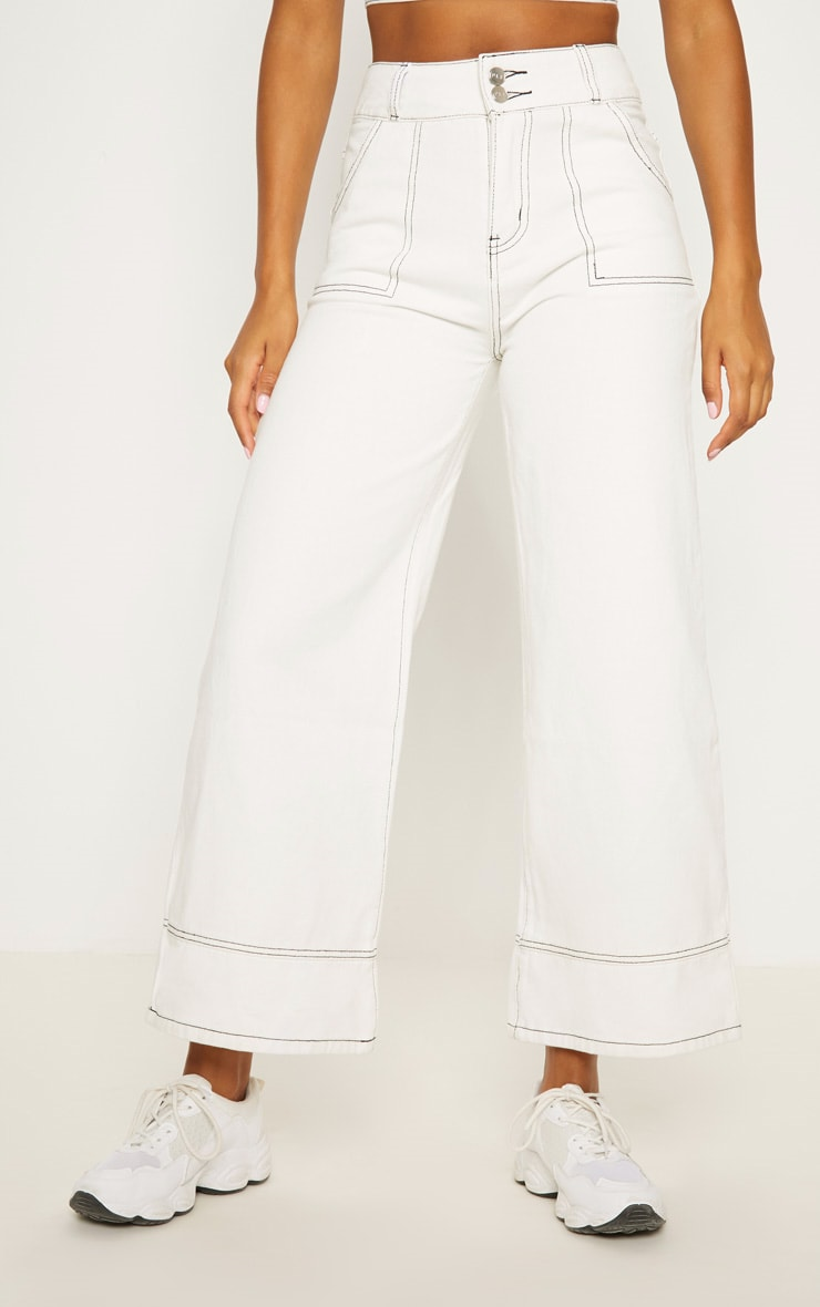 White High Waisted Denim Crop Flares 2