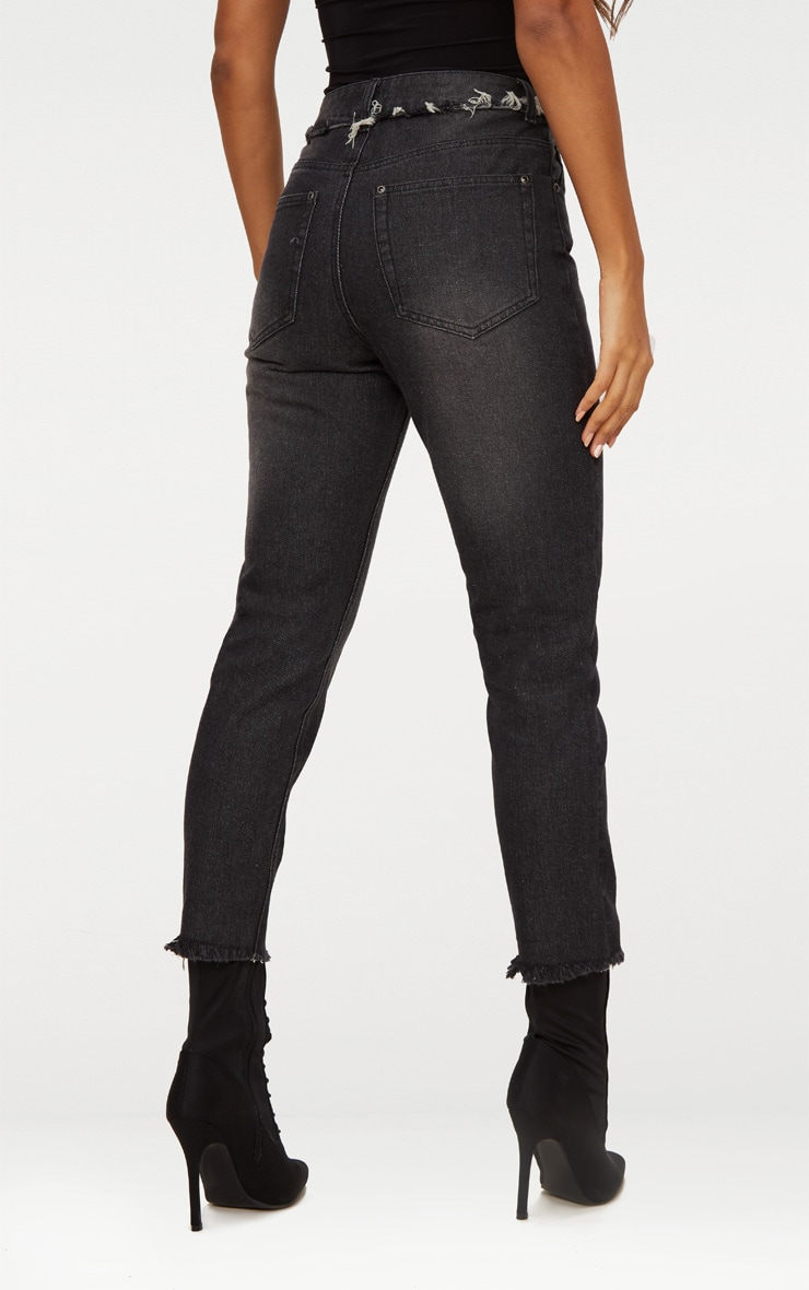 Washed Black Frayed Seam Cropped Straight Leg Jeans 4