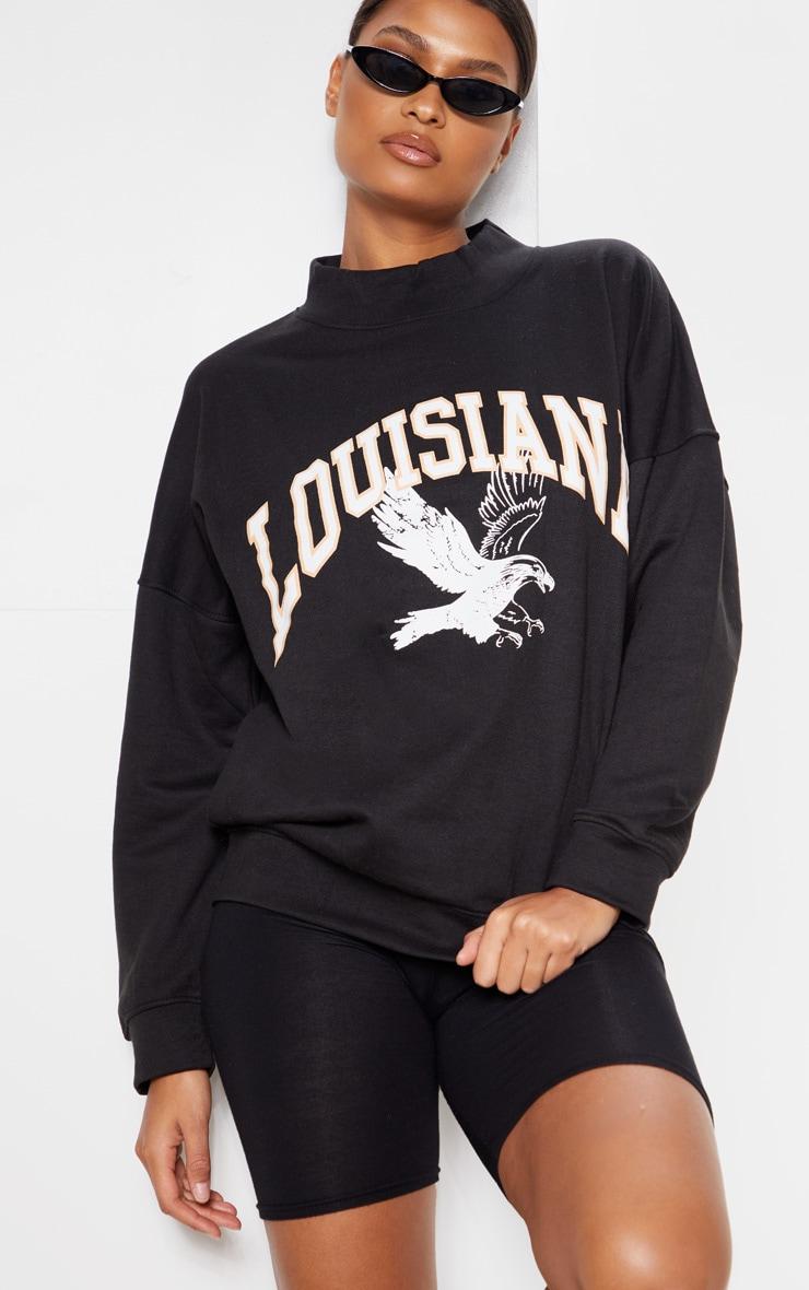 Black Louisiana Print Oversized High Neck Sweater 6